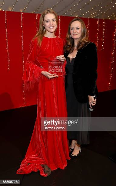 Lucy Yeomans presents Natalia Vodianova with her Global VOICES 2017 Award at the gala dinner during #BoFVOICES on December 1 2017 in Oxfordshire...