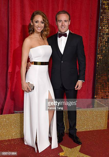 LucyJo Hudson and Alan Halsall arrive for the British Soap Awards 2016 at the Hackney Town Hall Assembly Rooms on May 28 2016 in London England