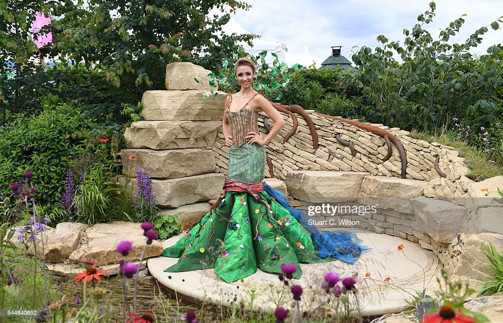 Lucy-Jo Hudson poses in the Zoflora garden during the launch of the RHS Hampton Court Flower Show at Hampton Court Palace on July 4, 2016 in London, England.