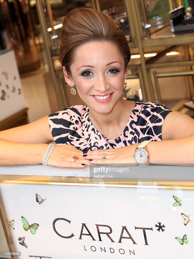 Lucy-Jo Hudson serves customers and gives jewellery styling tips at CARAT* in Selfridges Manchester Exchange Square on April 14, 2012 in Manchester, England.