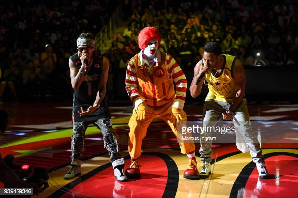 Ludacris and Ronald McDonald perform at the 2018 McDonald's All American Games at Philips Arena on March 28 2018 in Atlanta Georgia