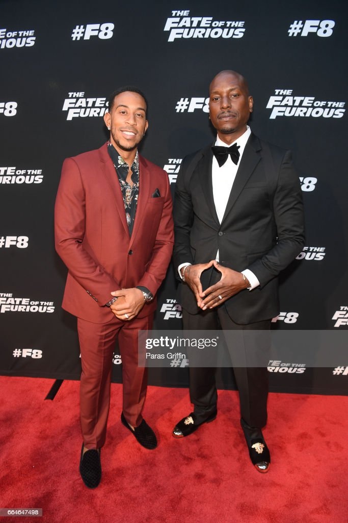 Ludacris and Tyrese Gibson attend 'The Fate Of The Furious' Atlanta red carpet screening at SCADshow on April 4, 2017 in Atlanta, Georgia.