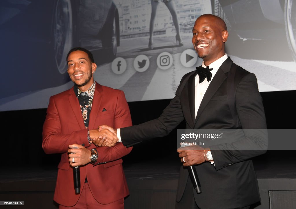 Ludacris and Tyrese Gibson speaks onstage at The Fate Of The Furious Atlanta Red Carpet Screening at SCADshow on April 4, 2017 in Atlanta, Georgia.