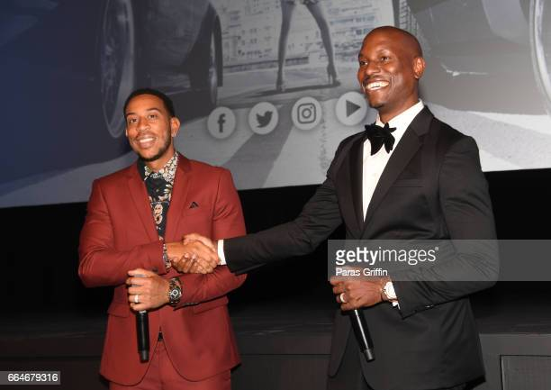 Ludacris and Tyrese Gibson speaks onstage at The Fate Of The Furious Atlanta Red Carpet Screening at SCADshow on April 4 2017 in Atlanta Georgia