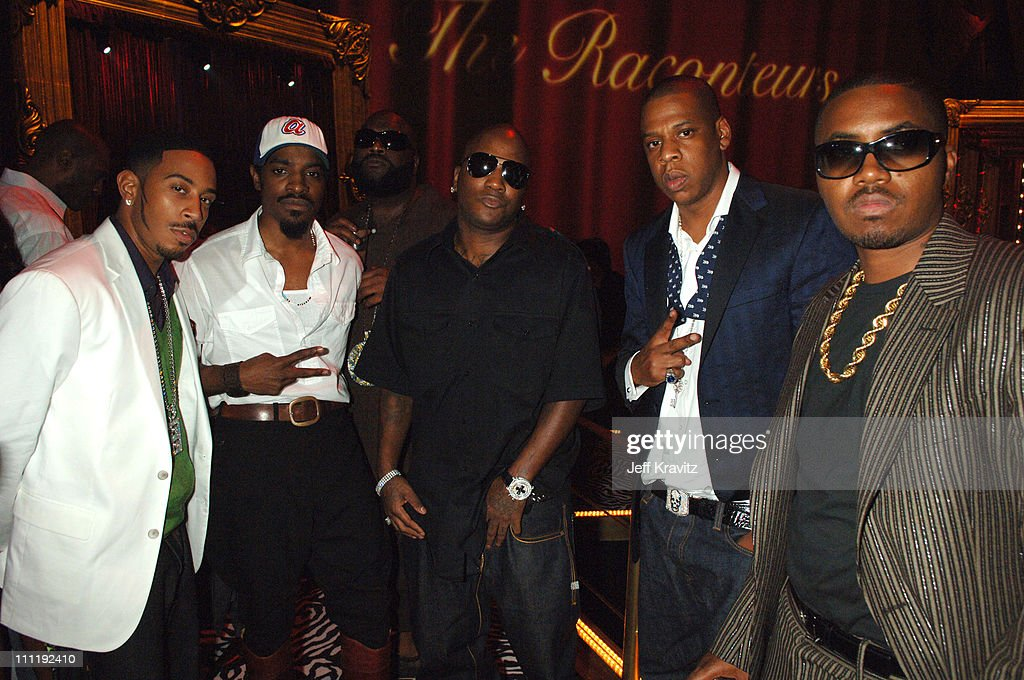 Ludacris, Andre 3000, Yung Joc, Jay-Z and Nas during 2006 MTV Video Music Awards - Backstage at Radio City Music Hall in New York, New York, United States.