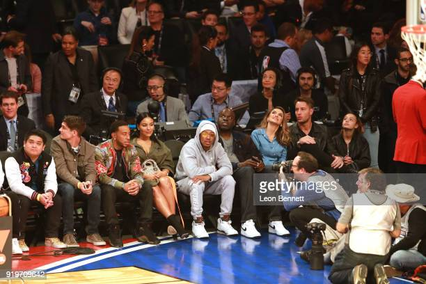 Ludacris Eudoxie Mbouguiengue Nick Cannon Chrishell Stause and Justin Hartley attend The 2018 State Farm AllStar Saturday Night at Staples Center on...