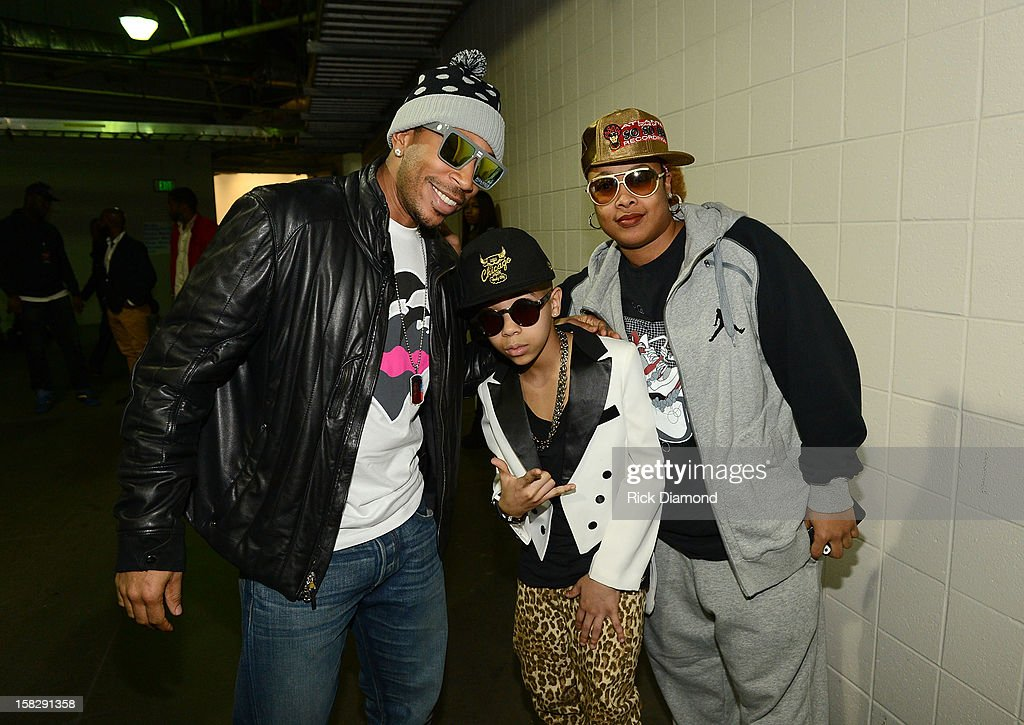 Ludacris, Key Swag 3000 and Da Brat pose backstage at Power 96.1's Jingle Ball 2012 at the Philips Arena on December 12, 2012 in Atlanta.