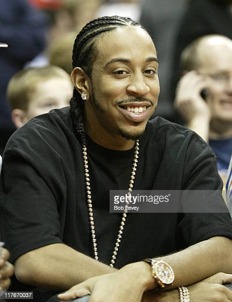 Ludacris takes in the game between the Dallas Mavericks and Hosuton Rockets at the Toyota Center December 11 2004 in Houston Texas