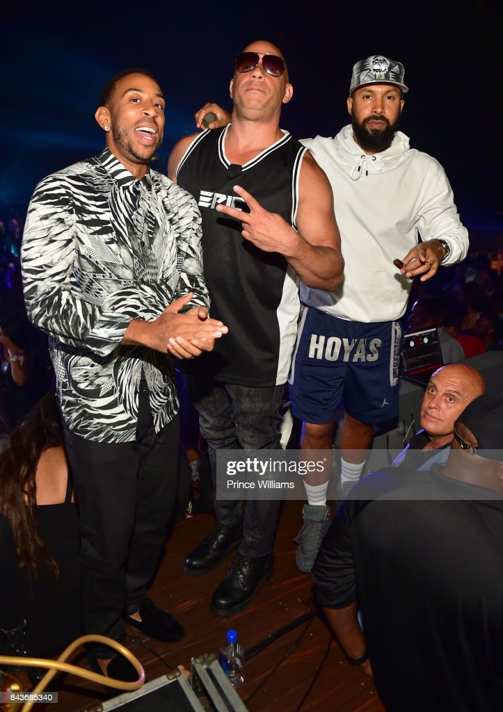 Ludacris, Vin Diesel and Kenny Burns attend the Luda birthday celebration at Compound on September 3, 2017 in Atlanta, Georgia.