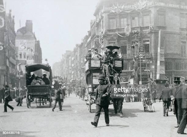 Ludgate Circus London prepared for Queen Victoria's Diamond Jubilee 1897 Artist Paul Martin
