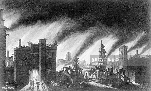 1666 Ludgate Hill and St Paul's burning during the Great Fire of London The arched tower of St Mary le Bow is in the background Original Publication...