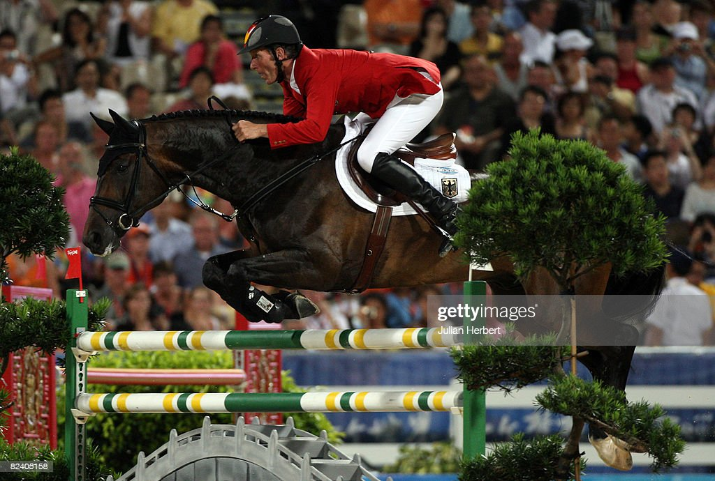 Ludger Beerbaum of Germany and All Inclusive in action during the Team Jumping Competition held at the Hong Kong Olympic Equestrian Venue in Sha Tin during day 10 of the Beijing 2008 Olympic Games on August 18, 2008 in Hong Kong, China.