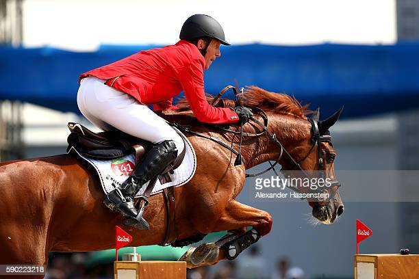 Ludger Beerbaum of Germany rides Casello during the Team Jumping on Day 11 of the Rio 2016 Olympic Games at the Olympic Equestrian Centre on August...
