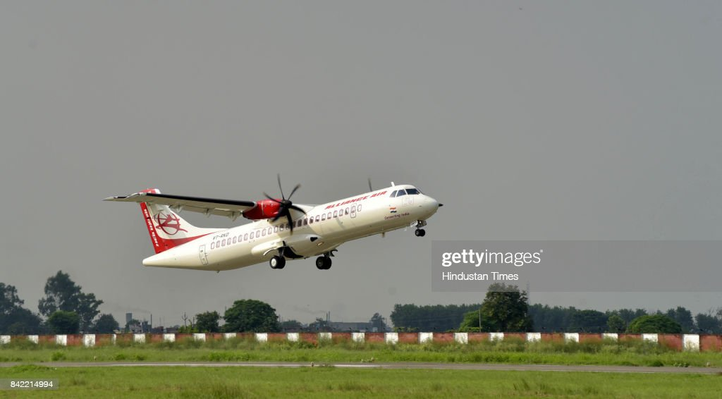 LudhianaDelhi flight takes off from Sahnewal Airport on September 2 2017 in Ludhiana India The flight is part of the regional connectivity scheme...