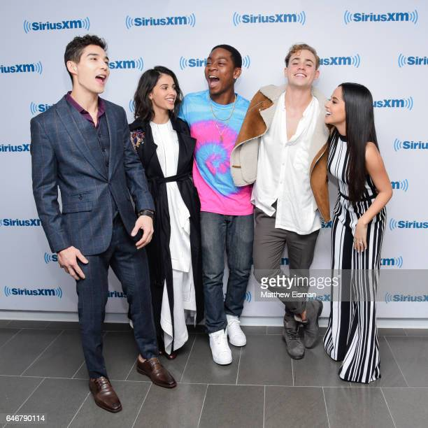 Ludi Lin Naomi Scott RJ Cyler Dacre Montgomery and Becky G of the new film 'Power Rangers' pose together for a photo at SiriusXM Studios on March 1...