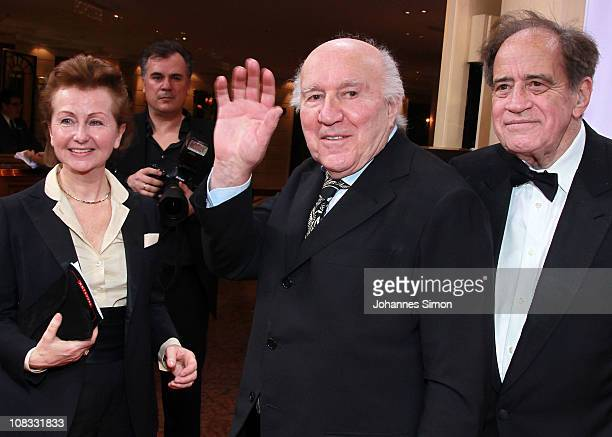 Ludivine Clerc, her husband French actor Michel Piccoli and US film producer Arthur Cohn attend the Diva Award 2011 at Hotel Bayerischer Hof on...