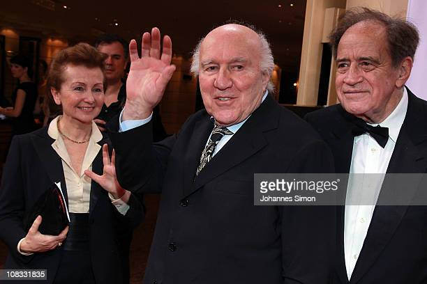 Ludivine Clerc her husband French actor Michel Piccoli and US film producer Arthur Cohn attend the Diva Award 2011 at Hotel Bayerischer Hof on...