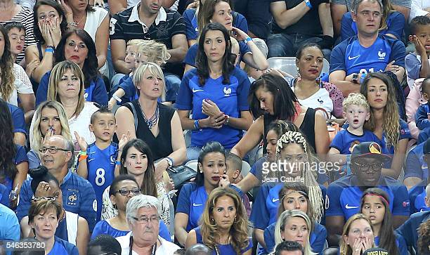 Ludivine Payet Jennifer Giroud Sephora Coman Camille Sold attend the UEFA Euro 2016 final between Portugal and France at Stade de France on July 10...