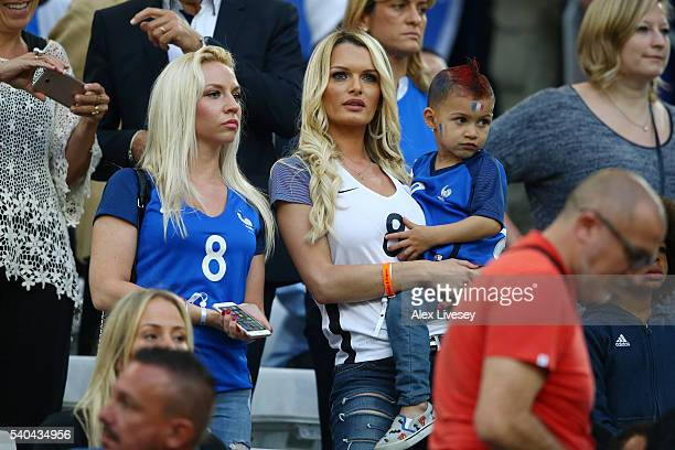 Ludivine Payet the wife of Dimitri Payet of France looks on during the UEFA EURO 2016 Group A match between France and Albania at Stade Velodrome on...