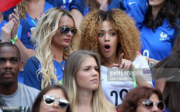 Ludivine Payet wife of Dimitri Payet and Sephora Coman wife of Kingsley Coman attend the UEFA EURO 2016 round of 16 match between France and Republic...
