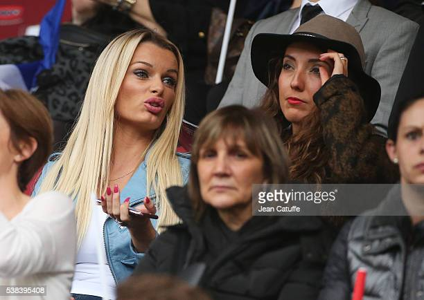 Ludivine Payet wife of Dimitri Payet and Tiziri Digne wife of Lucas Digne of France attend the international friendly match between France and...