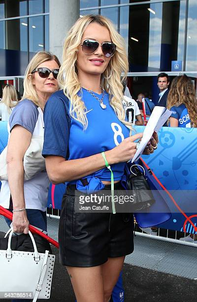 Ludivine Payet wife of Dimitri Payet attends the UEFA EURO 2016 round of 16 match between France and Republic of Ireland at Stade des Lumieres Parc...