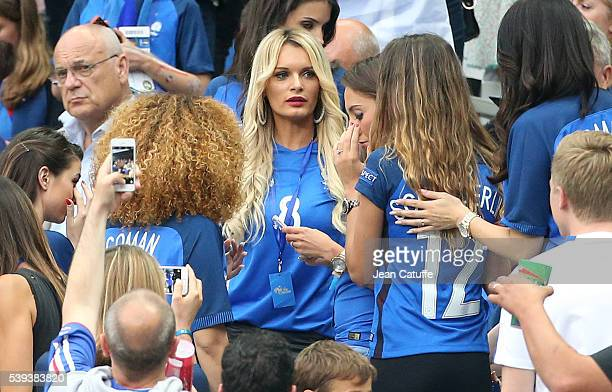 Ludivine Payet wife of Dimitri Payet of France attends the UEFA Euro 2016 Group A opening match between France and Romania at Stade de France on June...