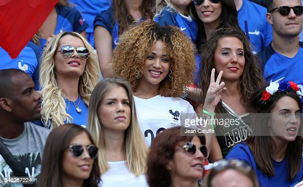 Ludivine Payet wife of Dimitri Payet Sephora Coman wife of Kingsley Coman and Tiziri Digne wife of Lucas Digne attend the UEFA EURO 2016 round of 16...