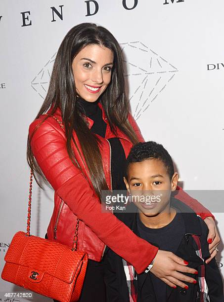 Ludivine Sagna and her son Lenny attend the 'Diamond Night by Divinescence Vendome' Harumi Klossowska Jewellery Exhibition Preview As Part Of Art...