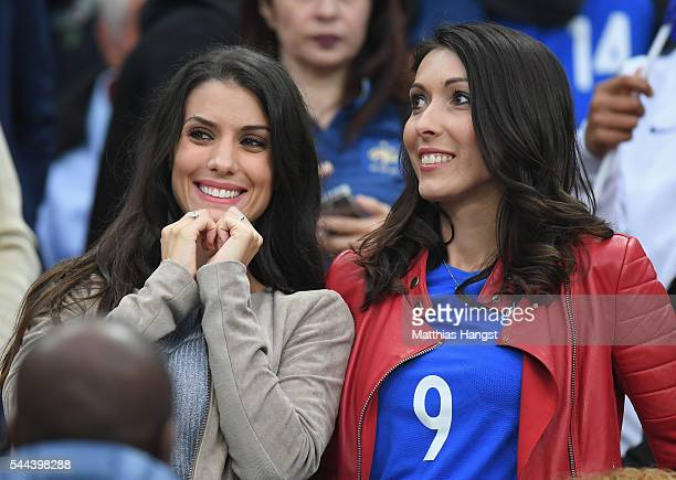 Ludivine Sagna wife of Bacary Sagna and Jennifer Giroud wife of Olivier Giroud of France are seen in the stand prior to the UEFA EURO 2016 quarter...