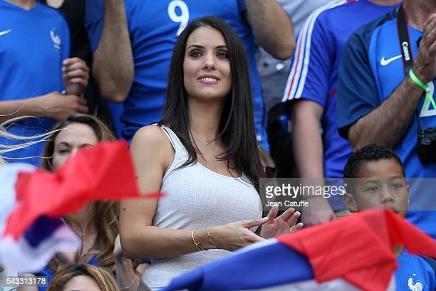 Ludivine Sagna wife of Bacary Sagna attends the UEFA EURO 2016 round of 16 match between France and Republic of Ireland at Stade des Lumieres Parc OL...
