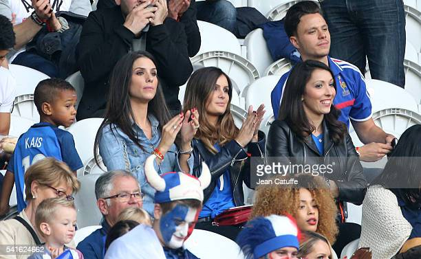 Ludivine Sagna wife of Bacary Sagna Marine Lloris wife of Hugo Lloris Jennifer Giroud wife of Olivier Giroud attend the UEFA EURO 2016 Group A match...