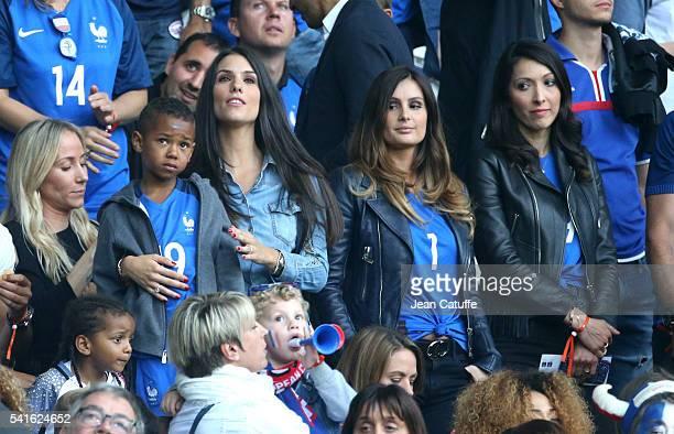 Ludivine Sagna wife of Bacary Sagna with their son Marine Lloris wife of Hugo Lloris Jennifer Giroud wife of Olivier Giroud attend the UEFA EURO 2016...
