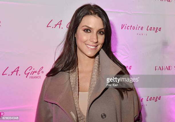Ludivine Sagna wife of footballer Bacary Sagna attends LA Girl Paris Cosmetics Launch and Fahaid Sanober 8TH Anniversary Cocktail at 32 rue Faubourg...