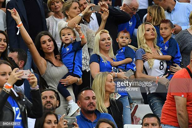 Ludivine Sagna wife of France's defender Bacary Sagna and France's forward Dimitri Payet's wife Ludivine Payet attend the Euro 2016 group A football...