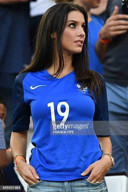 Ludivine Sagna wife of France's defender Bacary Sagna attends the Euro 2016 semifinal football match between Germany and France at the Stade...