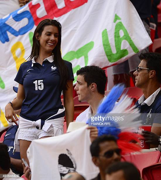 Ludivine Sagna wife of France's defender Bacary Sagna attends the round of 16 football match between France and Nigeria at the Mane Garrincha...