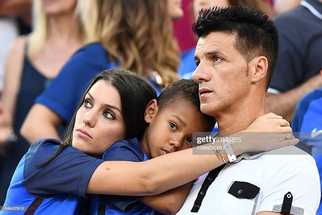 Ludivine Sagna, wife of France's defender Bacary Sagna, is seen in the stand during the Euro 2016 semi-final football match between Germany and France at the Stade Velodrome in Marseille on July 7, 2016. FIFE