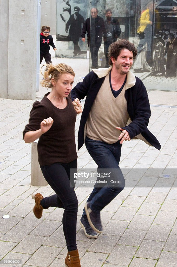 Ludivine Sagnier and Clement Sibony attend the Remake of the 1st Movie of the Lumiere Brothers , during the 5th Lumiere Film Festival, in Lyon.