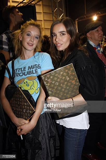 Ludivine Sagnier and Elodie Bouchez attends the Louis Vuitton fashion show, during the Spring/Summer 2008 ready-to-wear collection show at Cour...