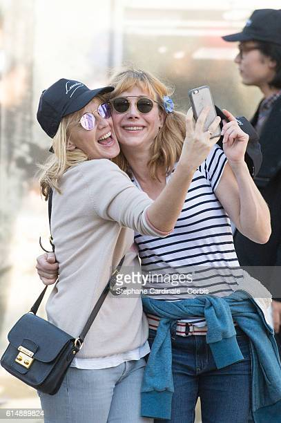 Ludivine Sagnier and Julie Depardieu attend the shooting of French short blackandwhite silent documentary film 'La Sortie de l'Usine' directed by...