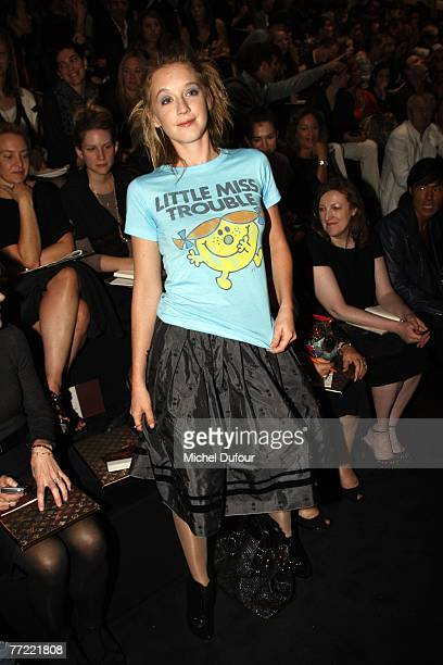 Ludivine Sagnier attends the Louis Vuitton fashion show, during the Spring/Summer 2008 ready-to-wear collection show at Cour carree du Louvre on...