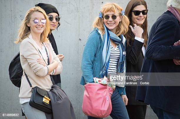 Ludivine Sagnier Camelia Jordana Julie Depardieu and Chiara Mastroianni attend the shooting of French short blackandwhite silent documentary film 'La...
