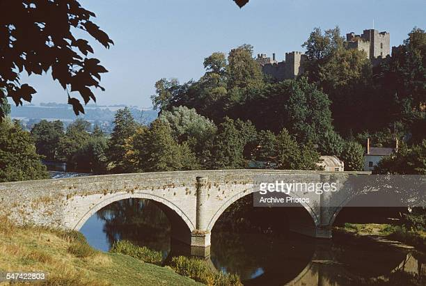 Ludlow Castle as seen from the River Teme Ludlow Shropshire England 1959