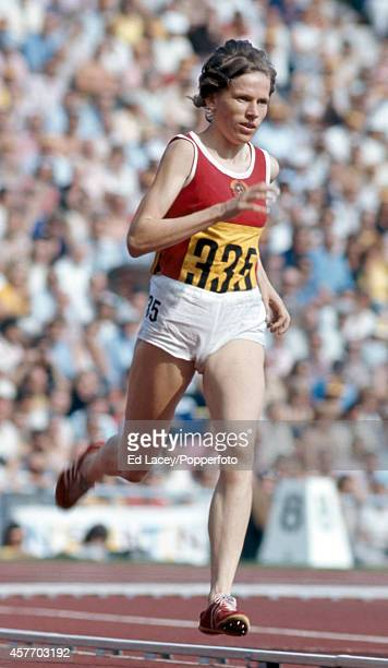 Ludmila Bragina of the Soviet Union en route to winning the gold medal in the women's 1500 metres event during the Summer Olympic Games in Munich...