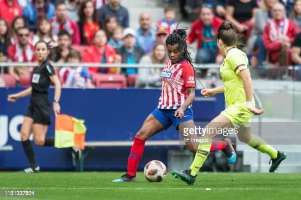 Ludmila da Silva of Atletico de Madrid and Andrea Pereira of Barcelona battle for the ball during the Liga Iberdrola match between Atletico de Madrid...