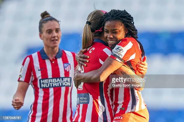 Ludmila Da Silva of Atletico de Madrid celebrates with Deyna Cristina Castellanos Naujenis after scoring her team's second goal during the Primera...