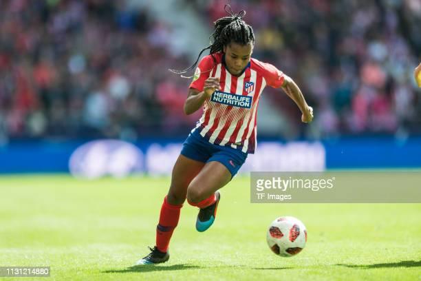Ludmila da Silva of Atletico de Madrid controls the ball during the Liga Iberdrola match between Atletico de Madrid and Barcelona at Wanda...