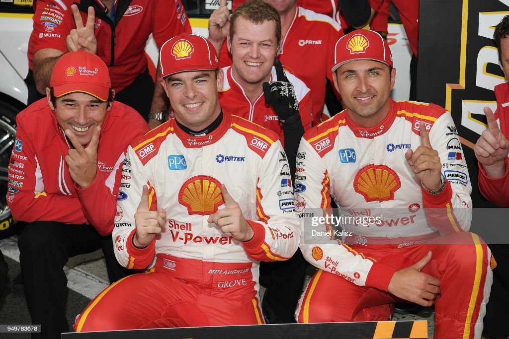 Ludo Lacroix engineering director at Shell V-Power Racing Team, Scott McLaughlin driver of the #17 Shell V-Power Racing Team Ford Falcon FGX and Fabian Coulthard driver of the #12 Shell V-Power Racing Team Ford Falcon FGX celebrates during the Supercars Phillip Island 500 at Phillip Island Grand Prix Circuit on April 22, 2018 in Phillip Island, Australia.