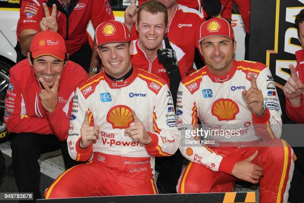 Ludo Lacroix engineering director at Shell VPower Racing Team Scott McLaughlin driver of the Shell VPower Racing Team Ford Falcon FGX and Fabian...
